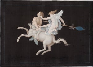 Painting on silk of a centaur being goaded by a maenad