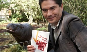 Guardian first book award nominee Juan Pablo Villalobos with a copy of Down the Rabbit Hole