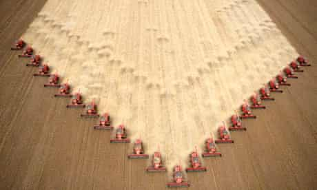 Soybeans are harvested at a farm in Tangara da Serra, Mato Grosso state in western Brazil