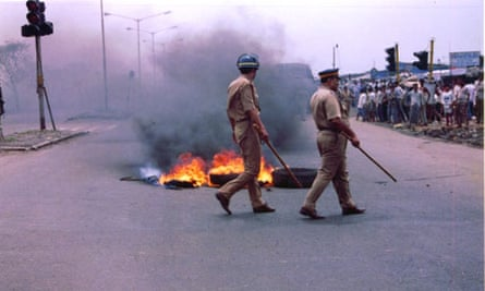 Police at a demonstration in India