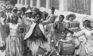 Free country … an 1833 illustration of former slaves celebrating their emancipation in Barbados.