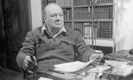 Making history … Winston Churchill in his office.