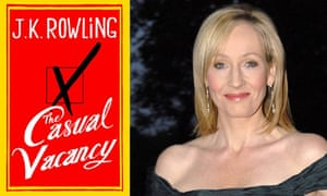 JK Rowling and the book cover of The Casual Vacancy