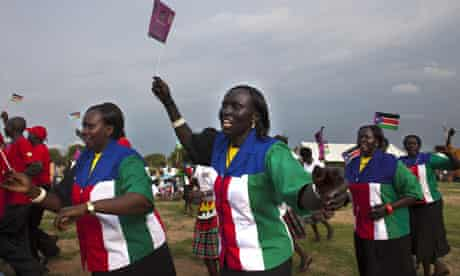 South Sudanese women dance at a festival to  celebrate the country's anniversary of independence