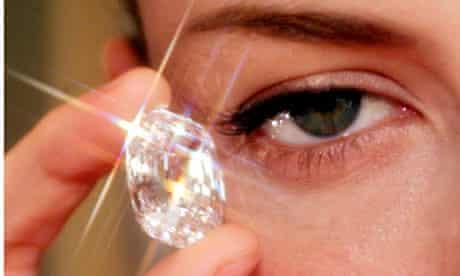 Diamond (44 carats) held by model