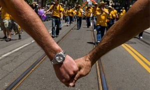 Straight is narrow … a gay pride event in San Francisco.