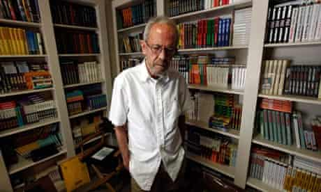 Man of many words … Elmore Leonard at home in Michigan, surrounded by copies of his books.