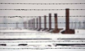Chimneys and barbed wire Auschwitz-Birkenau