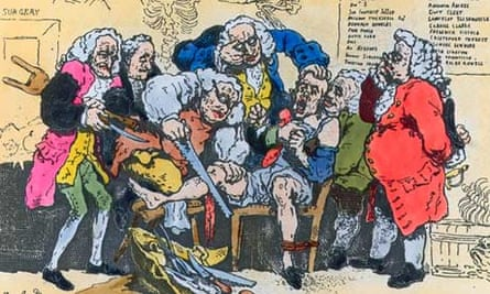 What the doctors saw … an etched caricature of Georgian surgeons at work (1793).