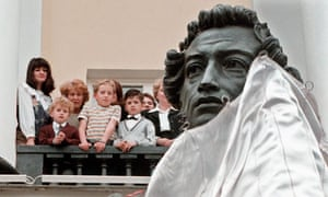 A bust of Alexander Pushkin is unveiled outside the Institute of Russian Literature in St Petersburg