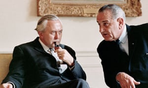 President Lyndon B Johnson discusses NATO issues with British Prime Minister Harold Wilson.