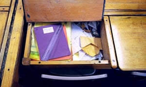 An old wooden school desk