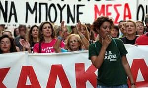 Greek protestors in Thessaloniki on 7 September