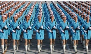 Chinese Army Practice Marching Drills