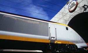 A Eurostar train enters the Channel tunnel