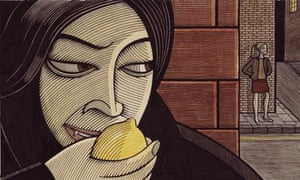 Illustration of vampire biting into a lemon