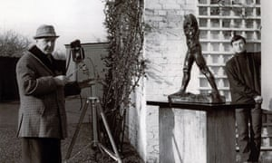 Moore photographing Rodin's Walking Man in 1967