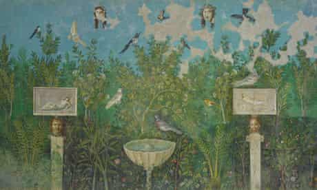 British Museum's Pompeii exhibition: garden room, fresco from the Villa Arianna
