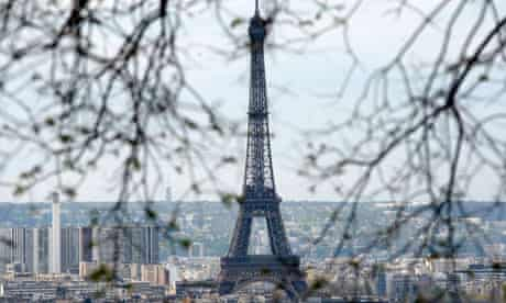 The Eiffel tower is seen from the Sacre Coeur Basilica in Paris