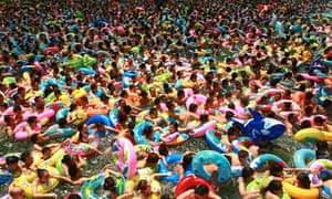Crowded swimming pool in China
