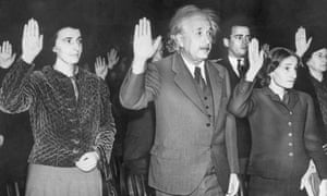 Albert Einstein, his secretary and his daughter take the oath of US citizenship
