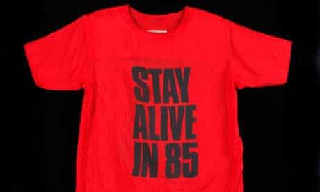 Katherine Hamnett T-shirt that says 'stay alive in 85'