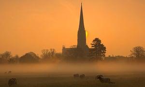 Sunrise over Salisbury cathedral