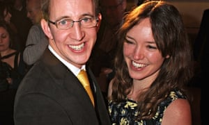Nathan Filer celebrates with his wife, Emily, following the Costa book awards gala in London