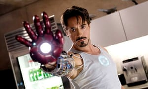 Robert Downey Jr as Tony Stark in Iron Man.