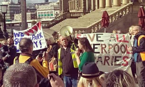 Cathy Cassidy leads a protest against the closure of Liverpool's libraries