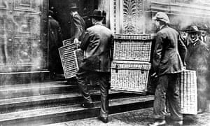 German hyperinflation … laundry baskets were used to collect bulky pay packets in Berlin in 1923.