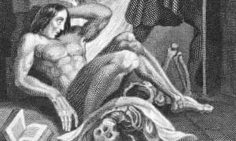 The very first illustration of Frankenstein and his creature, by Theodor vonHolst, published in 183