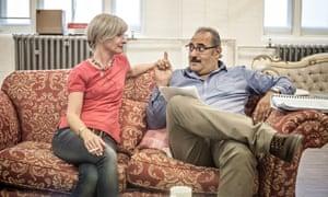 Jane Horrocks (Ella Khan) and Ayub Khan-Din (George Khan) inrehearsals forEast Is East atTrafalga