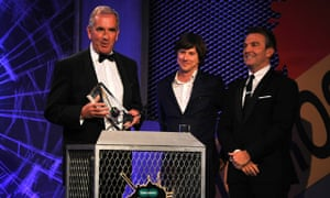 Robert Harris, left, collects the Ian Fleming Steel Dagger at the Specsavers Crime Thriller awards.