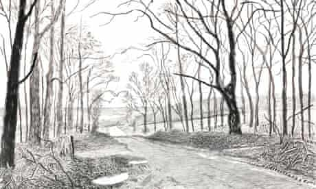 Detail from David Hockney's Woldgate, 30 April, 1 & 5 May 2013.