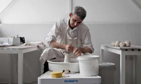 Edmund de Waal in his studio, West Norwood, London, 2013