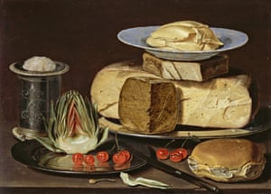 Still Life with Cheeses, Artichoke, and Cherries by Clara Peeters.