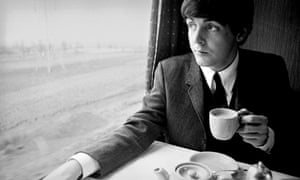 Paul McCartney on a train from London to Minehead in 1964.