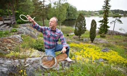 Fredrik Sjoberg the author of The Fly Trap on the island Runmaro in Sweden.