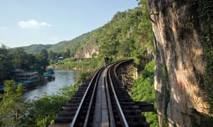 A section of the Burma railway in Kanchanaburi, Thailand.