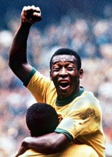Pele celebrates winning the World Cup in 1970
