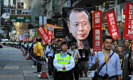 Protesters in Hong Kong call for the release of the jailed Chinese dissident Liu Xiaobo.