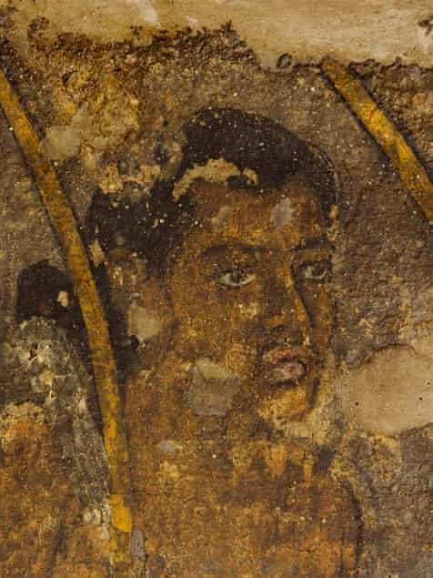Detail from a mural in cave 10 of the Ajanta caves.