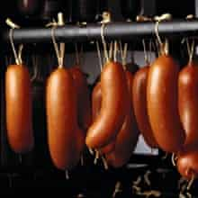 Hanging sausages