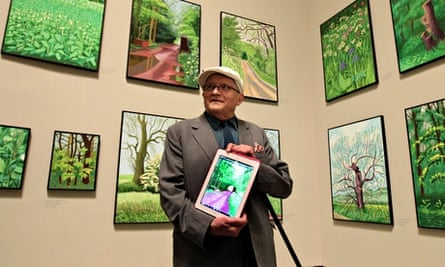 David Hockney during the opening of his A Wider Perspective show at the Guggenheim Museum in Bilbao,