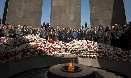 Armenians mark the anniversary of the massacre of their people, in 2014.