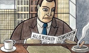 Illustration of man reading a newspaper
