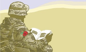 Illustration of soldier wearing a poppy reading a book