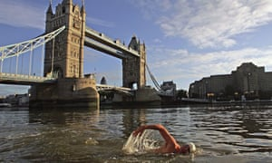 Man swimming in the River Thames