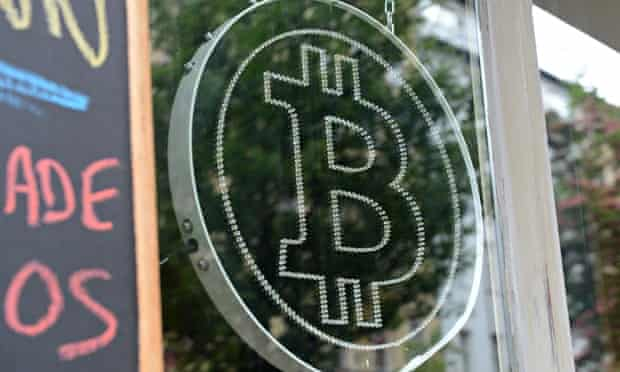 Bitcoin logo in restaurant window